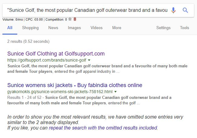 Example of duplicate content being checked on the GolfSupport site.