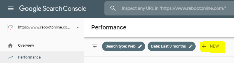 search console filter option on performance